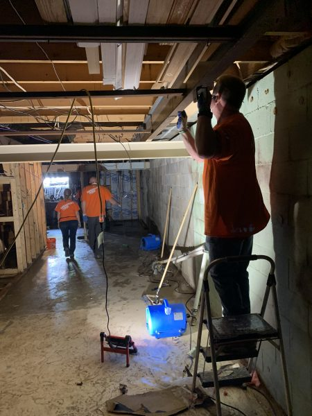 Removing insulation and checking joists